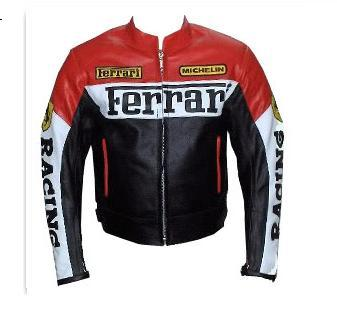 Marke Schwarz Weiß Motorrad Lederjacke Rot Farbe Ferrari JFK1cl