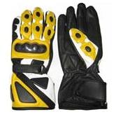 Gelbe Farbe Motorrad Lederhandschuhe