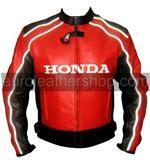 Honda Joe Rocket rot schwarz Motorrad-Lederjacke weißen Streifen
