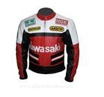 Kawasaki Motorrad Lederjacke weiß rot schwarz