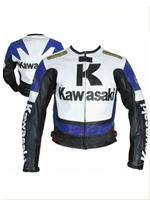 Kawasaki R Blau Motorrad Racing Leather Jacket