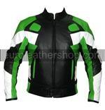 Motorrad Lederjacke grün schwarz weiß