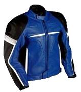 Motorradrennen Mode Lederjacke blau schwarz weiß