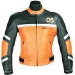 Orange und Schwarz 05 Motorrad Lederjacke