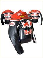 Red Bull roten und schwarzen Motorrad Lederjacke