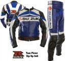SUZUKI GSXR Motorrad Lederkombi blau