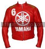 Yamaha 6 rot Motorrad Lederjacke