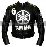 Yamaha 6 schwarz Motorrad-Lederjacke