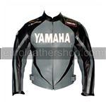 Yamaha Motorrad Lederjacke schwarz grau