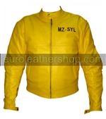Yamaha gelbe Farbe Motorrad-Lederjacke