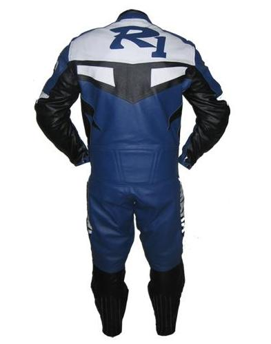 Yamaha R1 Couleur Blanc Bleu Moto Combinaison De Cuir