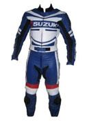 Cuir moto Suzuki course costume de couleur bleu blanc