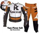 Kawasaki couleur orange course costume de cuir