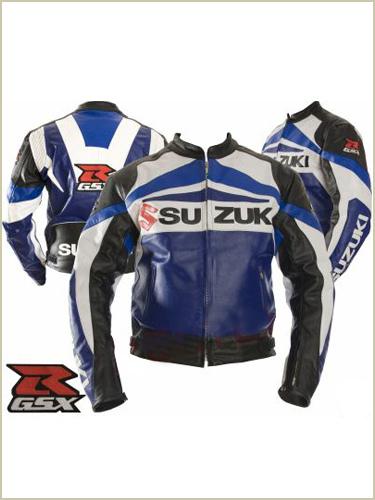 Blouson moto cuir bleu suzuki