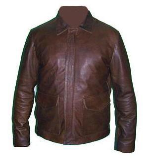 veste vintage en cuir brun foncé