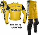 Yamaha moto jaune costume de cuir
