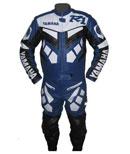 Yamaha R1 bleue et costume en cuir blanc