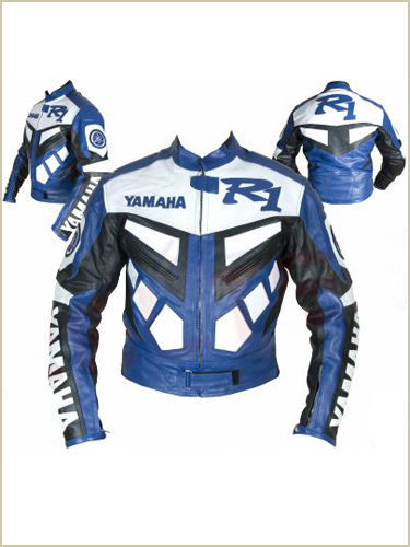 yamaha r1 veste en cuir de moto de couleur bleue. Black Bedroom Furniture Sets. Home Design Ideas