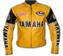 Yamaha moto veste en cuir jaune