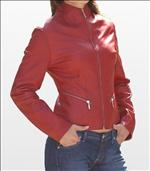 Ladies Stylish Red Soft Anline Leather Jacket