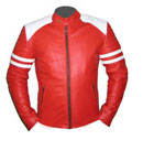 Mens Red &  white soft leather jacket