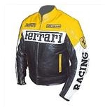 Ferrari motorbike leather jacket yellow black
