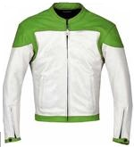 Green and White color Motorcycle Leather Jacket