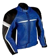 Motorbike fashion racing leather jacket in blue