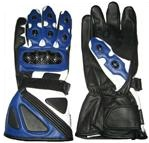 Motorcycle Leather Gloves Blue Color