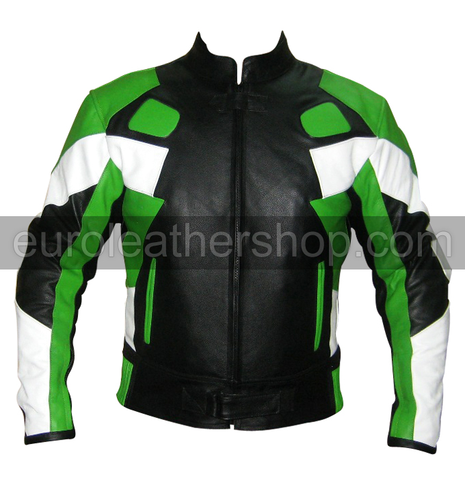 Motorcycle leather jacket green black white colour