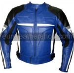 Motorcycle leather jacket in blue black white grey colour