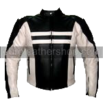 Motorcycle racing leather jacket black and white