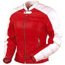 Red & White Ladies Motorcycle Jacket