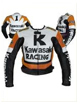 Kawasaki Motocycle Leather Jacket Orange
