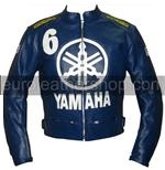 Yamaha 6 blue colour biker leather jacket