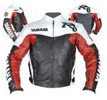 Yamaha R6 motorcycle leather jacket red white
