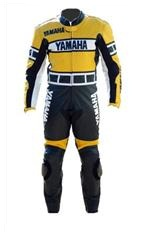 Yamaha one piece motorcycle leather suit yellow black colour