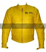 Yamaha yellow colour motorcycle leather jacket