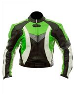 biker fashion leather jacket green black white col