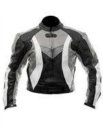 biker motorcycle leather jacket black gray white c