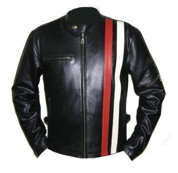 Black leather jacket with red stripe
