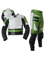 green white black colour two 2 piece motorbike leather suit