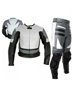 grey white colour two 2 piece motorbike leather suit