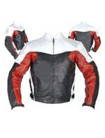 motorcycle biker leather jacket in black white red colour