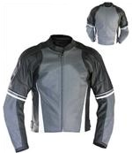motorcycle fashion leather jacket black and grey