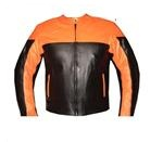 orange and black colour motorbike leather jacket