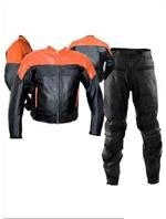 two piece orange black colour motorcycle leather suit