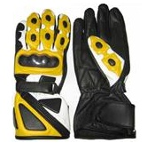 Yellow Motorcycle Leather Gloves